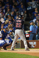 Cleveland Indians Jason Kipnis (22) bats in the first inning during Game 3 of the Major League Baseball World Series against the Chicago Cubs on October 28, 2016 at Wrigley Field in Chicago, Illinois.  (Mike Janes/Four Seam Images)