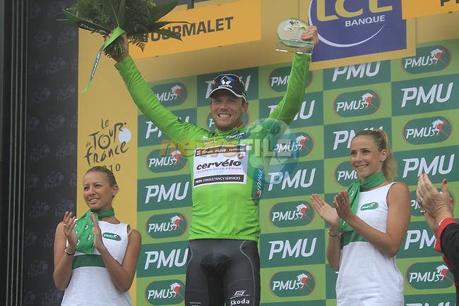 Thor Hushovd (NOR) Cervelo Test team retains the points Green Jersey at the end of Stage 17 of the 2010 Tour de France running 174km from Pau to Col du Tourmalet, France. 22nd July 2010.<br /> (Photo by Eoin Clarke/NEWSFILE).<br /> All photos usage must carry mandatory copyright credit (© NEWSFILE | Eoin Clarke)