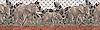 "16"" Elephant Walk border, a hand-cut stone mosaic, shown in honed Montevideo, Gascogne Blue, Jura Grey, polished Nero Marquina, Giallo Reale, Spring Green, Verde Luna, Verde Alpi, Rosa Verona, Emperador Dark, Calacatta Tia with 3x5 cm Basketweave."