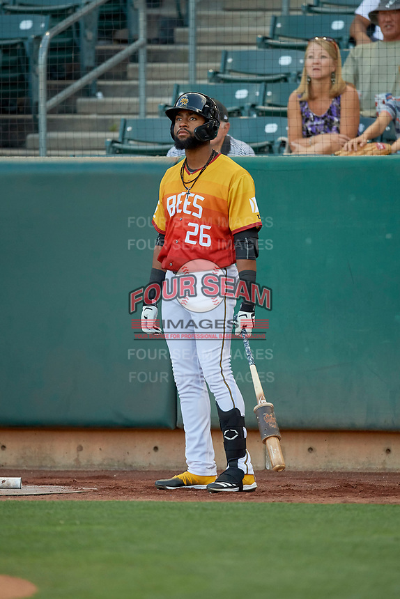 Jo Adell (26) of the Salt Lake Bees on deck against the Oklahoma City Dodgers at Smith's Ballpark on August 1, 2019 in Salt Lake City, Utah. The Bees defeated the Dodgers 14-4. (Stephen Smith/Four Seam Images)