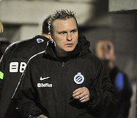 20131001 - VARSENARE , BELGIUM : Brugge's coach Filip Wydock pictured during the female soccer match between Club Brugge Vrouwen and Royal Antwerp FC Ladies , of the fifth matchday in the BENELEAGUE competition. Tuesday 1 October 2013. PHOTO DAVID CATRY