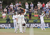 NZ's Henry Nicholls (celebrating his century, right) and Kane Williamson during day three of the second International Test Cricket match between the New Zealand Black Caps and Pakistan at Hagley Oval in Christchurch, New Zealand on Tuesday, 5 January 2021. Photo: Martin Hunter / lintottphoto.co.nz
