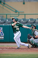 USF Bulls catcher Tyler Dietrich (38) bats during a game against the Dartmouth Big Green on March 17, 2019 at USF Baseball Stadium in Tampa, Florida.  USF defeated Dartmouth 4-1.  (Mike Janes/Four Seam Images)