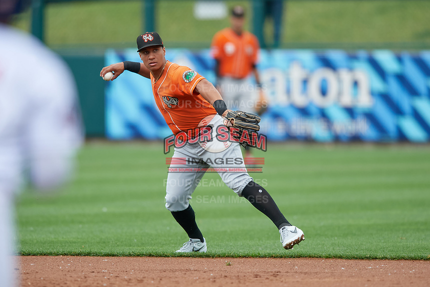 Norfolk Tides second baseman Christopher Bostick (1) throws to first base during an International League game against the Buffalo Bisons on June 21, 2019 at Sahlen Field in Buffalo, New York.  Buffalo defeated Norfolk 2-1, the first game of a doubleheader.  (Mike Janes/Four Seam Images)