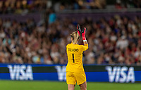 ORLANDO, FL - MARCH 05: Carly Telford #1 of England applauds her team during a game between England and USWNT at Exploria Stadium on March 05, 2020 in Orlando, Florida.