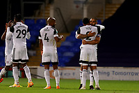 16th September 2020; Portman Road, Ipswich, Suffolk, England, English Football League Cup, Carabao Cup, Ipswich Town versus Fulham; Aleksandar Mitrovic of Fulham celebrates with Kenny Tete after he scored for 0-1 in the 38th minute