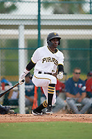 GCL Pirates Juan Pie (31) bats during a Gulf Coast League game against the GCL Twins on August 6, 2019 at Pirate City in Bradenton, Florida.  GCL Twins defeated the GCL Pirates 1-0 in the second game of a doubleheader.  (Mike Janes/Four Seam Images)