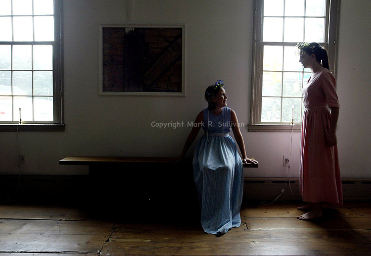 """""""CAMP""""  <br /> On Fri July 11,2003-<br /> <br /> The Merchants & Drovers Tavern museum in Rahway held a summer history theatre camp were campers have the chance to perform various skits with a historical reference. Here jessica Argrisani (left) age 9 of Rahway & Kaitlin Supple, age 14 of Rahway practice their lines before heading to the stage."""