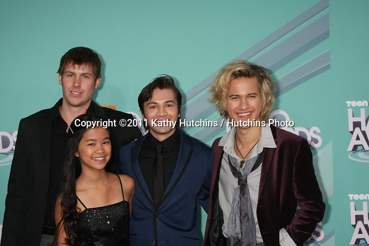LOS ANGELES - OCT 26:  (L-R) actors D.C. Cody, Tiffany Espensen, Taylor Gray and Dillon Lane arriving at the 2011 Nickelodeon TeenNick HALO Awards at Hollywood Palladium on October 26, 2011 in Los Angeles, CA