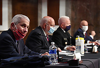 Dr. Anthony Fauci, director of the National Institute for Allergy and Infectious Diseases, CDC Director Dr. Robert Redfield, Adm. Brett Giroir, director of the U.S. coronavirus diagnostic testing and FDA Commissioner Stephen Hahn, (L to R), testify before the Senate Health, Education, Labor and Pensions (HELP) Committee on Capitol Hill in Washington DC on Tuesday, June 30, 2020.  Government health officials updated the Senate on how to safely get back to school and the workplace during the COVID-19 pandemic.<br /> Credit: Kevin Dietsch/CNP/AdMedia