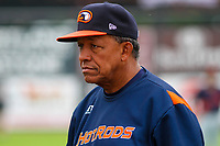 Bowling Green Hot Rods coach Manny Castillo (12) prior to a Midwest League game against the Wisconsin Timber Rattlers on July 22, 2018 at Fox Cities Stadium in Appleton, Wisconsin. Bowling Green defeated Wisconsin 10-5. (Brad Krause/Four Seam Images)