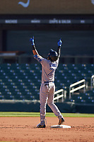Peoria Javelinas shortstop Lourdes Gurriel (21), of the Toronto Blue Jays organization, celebrates after hitting a double during an Arizona Fall League game against the Salt River Rafters on October 16, 2017 at Salt River Fields at Talking Stick in Scottsdale, Arizona.  Peoria defeated Salt River 6-2.  (Zachary Lucy/Four Seam Images)