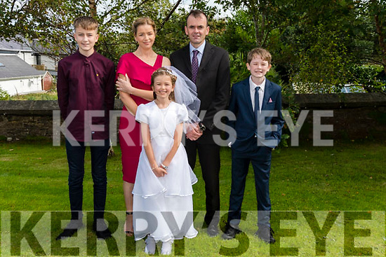 Wk38 Glenbeigh 2020 1st Communion<br /> Dawn Griffin of Curraheen National School received her First Holy Communion in St. James' Church, Glenbeigh on Saturday pictured with her brother Aaron, parents  Nora & Mike and brother Cathal