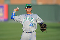 First baseman Mark Threlkeld (26) of the Lexington Legends before a game against the Greenville Drive on Friday, August 16, 2013, at Fluor Field at the West End in Greenville, South Carolina. Greenville won, 2-1. (Tom Priddy/Four Seam Images)