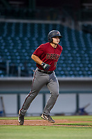 AZL Diamondbacks Buddy Kennedy (43) jogs to first base after a walk during the game against the AZL Cubs on August 11, 2017 at Sloan Park in Mesa, Arizona. AZL Cubs defeated the AZL Diamondbacks 7-3. (Zachary Lucy/Four Seam Images)