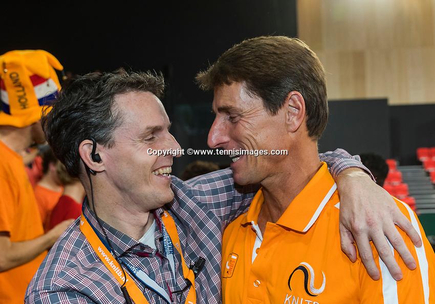 The Hague, The Netherlands, September 17, 2017,  Sportcampus , Davis Cup Netherlands - Chech Republic, Fifth match : Dutch Captain Paul Haarhuis (R) is congratulated by Guus van Berkel.<br /> Photo: Tennisimages/Henk Koster