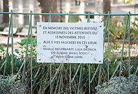 November 13 2017, PARIS FRANCE<br /> the President of France Emmanuel Macron<br /> honors the victims of the 13 november 2015<br /> in the scenes of attacks. A Memorial Plaque<br /> in memory of victims of the restaurant la Bonne Bière. # HOMMAGE AUX VICTIMES DES ATTENTATS DU 13 NOVEMBRE 2015