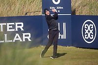 1st October 2021; Kingsbarns Golf Links, Fife, Scotland; European Tour, Alfred Dunhill Links Championship, Second round; Danny Willett of England tees off on the sixth hole at Kingsbarns Golf Links