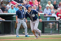 Brendan Rodgers (1) of the Asheville Tourists starts down the third base line against the Kannapolis Intimidators at Intimidators Stadium on May 28, 2016 in Kannapolis, North Carolina.  The Intimidators defeated the Tourists 5-4 in 10 innings.  (Brian Westerholt/Four Seam Images)