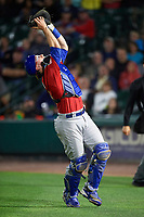 Buffalo Bisons catcher Danny Jansen (41) catches the ball on a foul popup in the bottom of the eleventh inning during a game against the Rochester Red Wings on August 25, 2017 at Frontier Field in Rochester, New York.  Buffalo defeated Rochester 2-1 in eleven innings.  (Mike Janes/Four Seam Images)