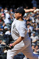 Apr 03, 2011; Bronx, NY, USA; New York Yankees pitcher Bartolo Colon(40) during game against the Detroit Tigers at Yankee Stadium. Tigers defeated the Yankees 10-7. Mandatory Credit: Tomasso De Rosa