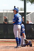 Brian Fletcher #38 of the Kansas City Royals  plays in minor league spring training game against the Texas Rangers at the Rangers minor league complex on March 22, 2011  in Surprise, Arizona..Photo by:  Bill Mitchell/Four Seam Images.
