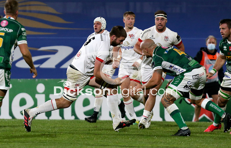 Friday 2nd October 2020 | Ulster Rugby vs Benetton Rugby<br /> <br /> Iain Henderson is tackled by Marco Lazzaroni during the PRO14 Round 1 clash between Ulster Rugby and Benetton Rugby at Kingspan Stadium, Ravenhill Park, Belfast, Northern Ireland. Photo by John Dickson / Dicksondigital