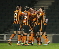 Hull City's James Scott is congratulated after scoring his side's third goal <br /> <br /> Photographer Rob Newell/CameraSport<br /> <br /> The EFL Sky Bet League One - MK Dons v Hull City - Saturday 21st November 2020 - Stadium MK - Milton Keynes<br /> <br /> World Copyright © 2020 CameraSport. All rights reserved. 43 Linden Ave. Countesthorpe. Leicester. England. LE8 5PG - Tel: +44 (0) 116 277 4147 - admin@camerasport.com - www.camerasport.com