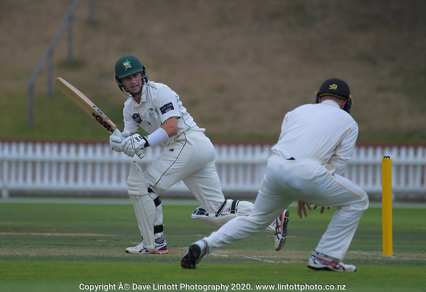 Central's Will Young bats during day two of the Plunket Shield cricket match between the Wellington Firebirds and Central Districts at Basin Reserve in Wellington, New Zealand on Monday, 2 March 2020. Photo: Dave Lintott / lintottphoto.co.nz