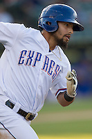 Round Rock Express designated hitter Rougned Odor (9) rounds first base during the Pacific Coast League baseball game against the Oklahoma City Dodgers on June 9, 2015 at the Dell Diamond in Round Rock, Texas. The Dodgers defeated the Express 6-3. (Andrew Woolley/Four Seam Images)
