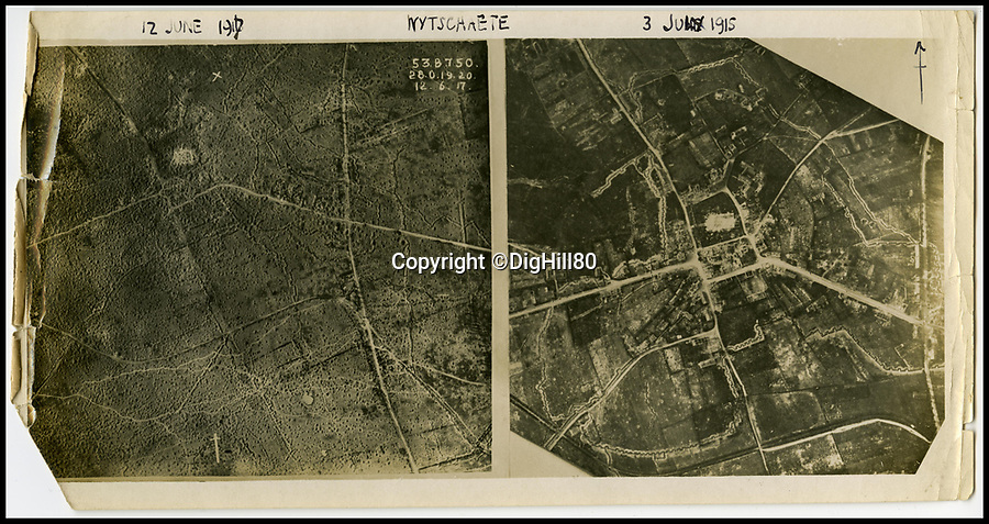 BNPS.co.uk (01202 558833)Pic: DigHill80/BNPS<br /> <br /> ***Online Embargo 13/7/18**<br /> <br /> Wijtscate aerial, 1914.<br /> <br /> Some 125 First World War soldiers have been discovered entombed in an perfectly preserved German trench system 101 years after they were killed.Most of the men, who are German, British, French and South African, were found where they fell during some of the most ferocious fighting of the war.Other skeletal remains were located buried in a mass grave alongside religious artefacts placed there by their comrades. The 'hell on earth' discovery was made by archaeologists ahead of a housing development on a small field in Flanders, Belgium.