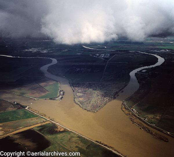 aerial photograph of Grand Island, Ryer Island, Steamboat Slough, Cache Slough Sacramento river delta near Rio Vista, Solano County, California