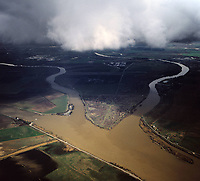 aerial photograph of Grand Island, Ryer Island, Steamboat Slough, Cache Slough Sacramento river delta near Rio Vista, Solano County, California