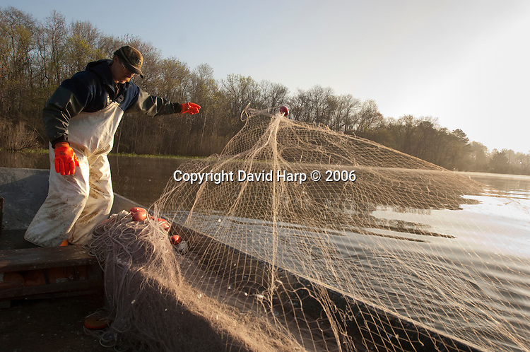 An April cold front moves across Marshyhope Creek where Fred Harrison, nowadys with son Clark, has drift netted for shad and herring for 50 years.