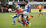 Nederland, Volendam, 31 mei 2015<br /> Playoffs om promotie/degradatie<br /> Seizoen 2014-2015<br /> FC Volendam-De Graafschap<br /> Brandley Kuwas (m.) van FC Volendam en Caner Cavlan van De Graafschap strijden, in een duel, om de bal. Links Vlatko Lazic van De Graafschap.