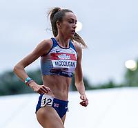 5th June 2021; Birmingham University Athletics Track, Birmingham, Midlands, England; European 10000 Metre Finals, British Olympic Trials 10000 Metre; Eilish McColgan under way in the women's 10,000m race