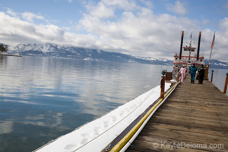 The M.S. Dixie II paddlewheeler docked at Zephyr Cove on South Lake Tahoe, Nevada