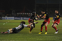 Maro Itoje of Saracens breaks past Sam Harrison of Leicester Tigers near the tryline as Brad Barritt of Saracens supports during the Premiership Rugby match between Saracens and Leicester Tigers - 02/01/2016 - Allianz Park, London<br /> Mandatory Credit: Rob Munro/Stewart Communications