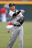 Second baseman Diego Garcia (7) of the Charleston RiverDogs warms up before a game against the Greenville Drive on Friday, July 28, 2017, at Fluor Field at the West End in Greenville, South Carolina. Charleston won, 6-1. (Tom Priddy/Four Seam Images)