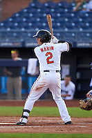 Peoria Javelinas shortstop Adrian Marin (2) at bat during an Arizona Fall League game against the Mesa Solar Sox on October 21, 2015 at Peoria Stadium in Peoria, Arizona.  Peoria defeated Mesa 5-3.  (Mike Janes/Four Seam Images)