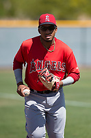 Los Angeles Angels third baseman Oliver Carmona (24) during an Extended Spring Training game against the Chicago Cubs at Sloan Park on April 14, 2018 in Mesa, Arizona. (Zachary Lucy/Four Seam Images)