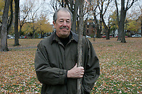 November 4, 2004, Montreal (QC) CANADA<br /> Denys Arcand posed with a tree planted in a Montreal Park, to commemorate that he and Marie-Josee Croze where chosen 2003 year personality by LaPresse (newspaper) and Radio Canada (TV network)