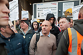 Electricians and supporters picket Blackfriars Station Redevelopment construction site to protest at plans by contractor Balfour Beatty to cut wages by 35%.