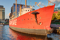 Lightship Chesapeake anchored at the Baltimore Maritime Museum in Baltimore, Maryland.