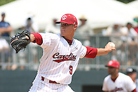 University of South Carolina Gamecocks pitcher Steven Neff #9 on the mound during the 2nd and deciding game of the NCAA Super Regional vs. the University of Coastal Carolina Chanticleers on June 13, 2010 at BB&T Coastal Field in Myrtle Beach, SC.  The Gamecocks defeated Coastal Carolina 10-9 to advance to the 2010 NCAA College World Series in Omaha, Nebraska. Photo By Robert Gurganus/Four Seam Images