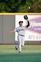 Pulaski Yankees center fielder Everson Pereira (38) settles under a fly ball during a game against the Greeneville Reds on July 27, 2018 at Pioneer Park in Tusculum, Tennessee.  Greeneville defeated Pulaski 3-2.  (Mike Janes/Four Seam Images)