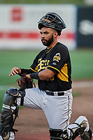 Julian Leon (26) of the Salt Lake Bees during the game against the  New Orleans Baby Cakes at Smith's Ballpark on June 8, 2018 in Salt Lake City, Utah. Salt Lake defeated New Orleans 4-0.  (Stephen Smith/Four Seam Images)