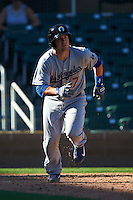 Glendale Desert Dogs catcher Kyle Farmer (7) during an Arizona Fall League game against the Surprise Saguaros on October 23, 2015 at Salt River Fields at Talking Stick in Scottsdale, Arizona.  Glendale defeated Surprise 9-6.  (Mike Janes/Four Seam Images)