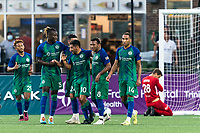 HARTFORD, CT - AUGUST 17: Danny Barrera #10 of Hartford Athletic celebrates his goal with teammates during a game between Charleston Battery and Hartford Athletic at Dillon Stadium on August 17, 2021 in Hartford, Connecticut.
