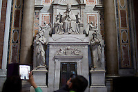 The tomb of Pope Pius VII is seen inside St. Peter's Basilica during a tour of the Vatican on Thursday, Sept. 24, 2015. (Photo by James Brosher)